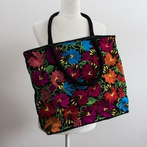 Stitched Flower Bag with Bright Colours on Black